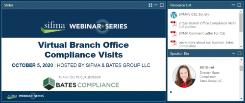 Important Takeaways from SIFMA-Bates Virtual Branch Office Compliance Visits Webinar